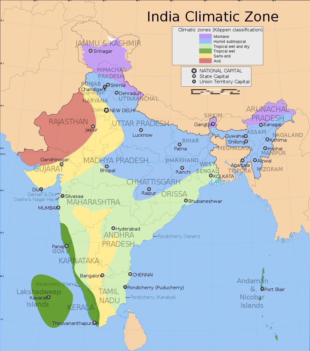 india-climate-mappng ¿Cuándo es el mejor momento para visitar la India?